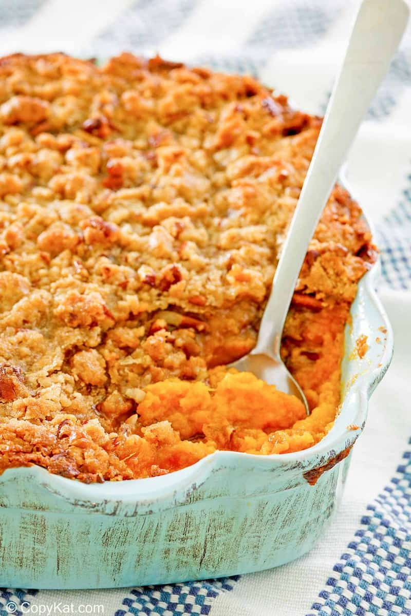 sweet potato souffle with pecans in a baking dish