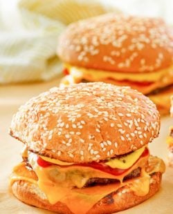 two homemade McDonald's quarter pounder burgers with cheese