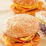 two homemade McDonald's quarter pounder burgers