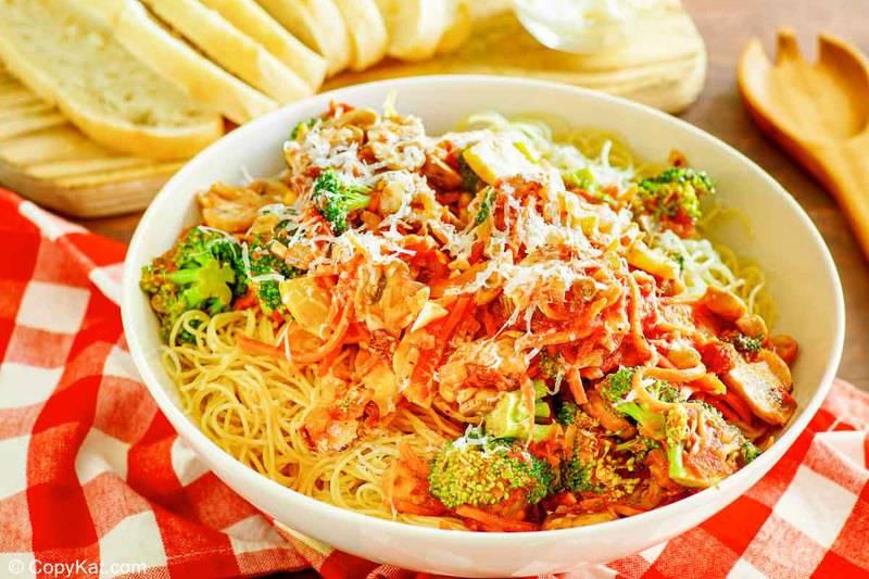 a bowl of homemade Olive Garden capellini primavera