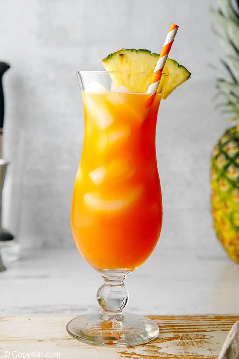 a glass of homemade TGI Friday's Captain Morgan Island Rum Punch