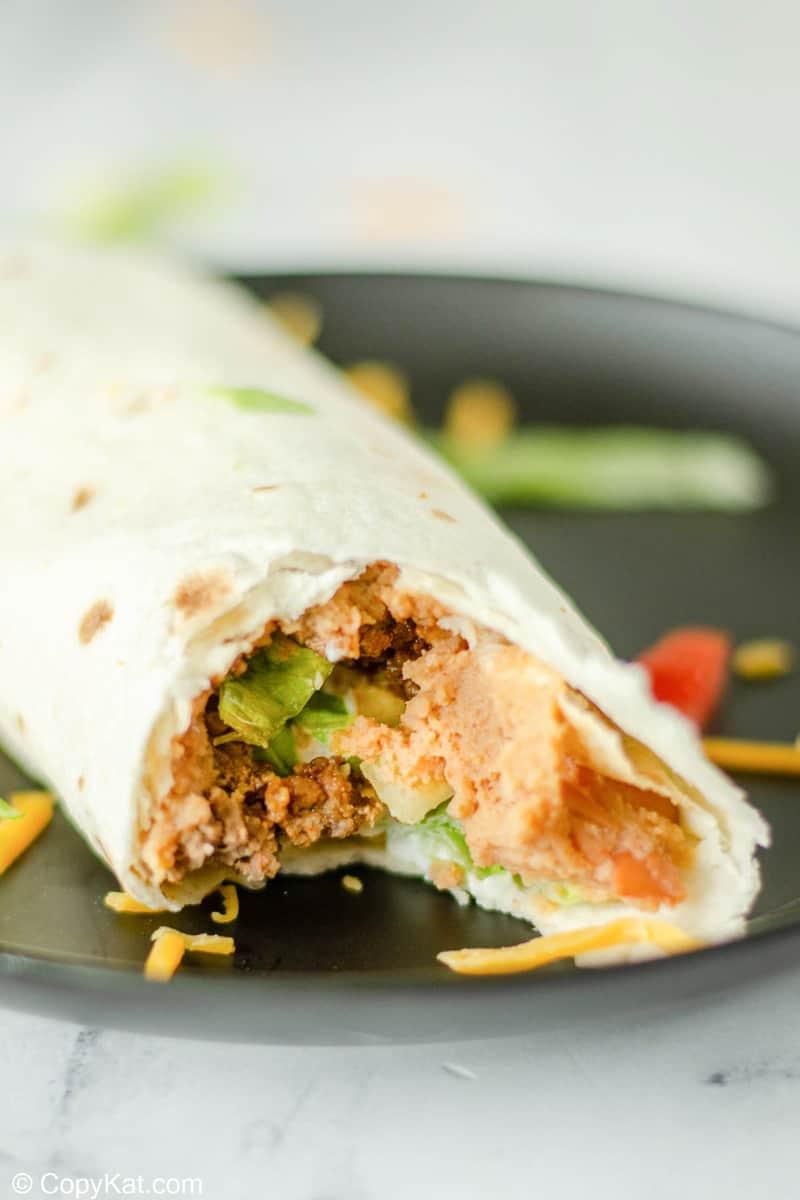closeup of a homemade Taco Bell Burrito Supreme