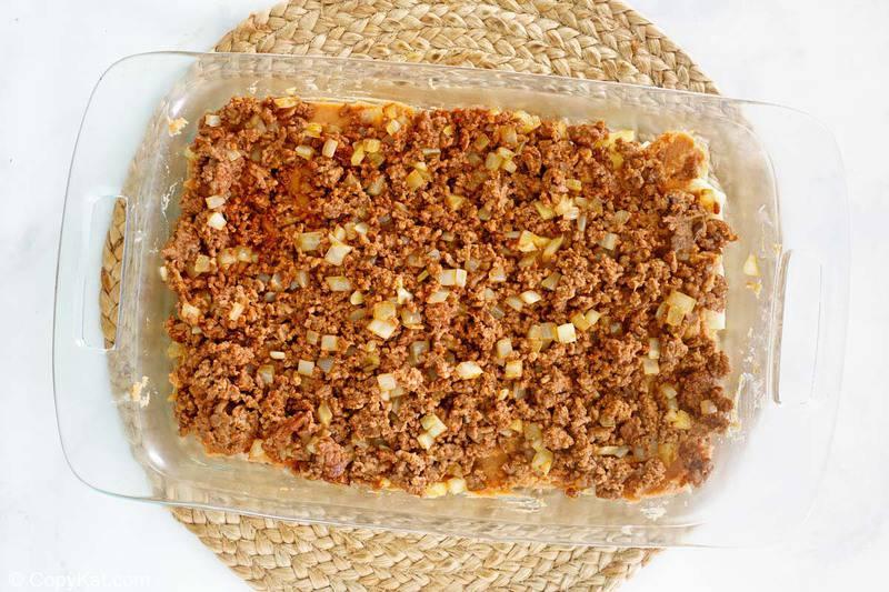 taco casserole seasoned ground beef and onions layer