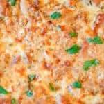 closeup of a baked tarragon chicken casserole