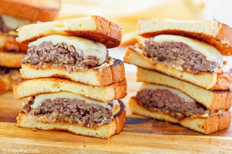 two homemade Whataburger patty melt sandwiches