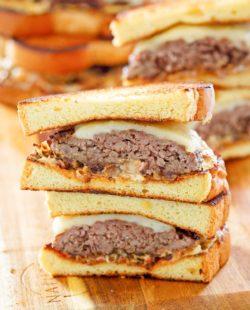 homemade Whataburger patty melt sandwiches cut in half