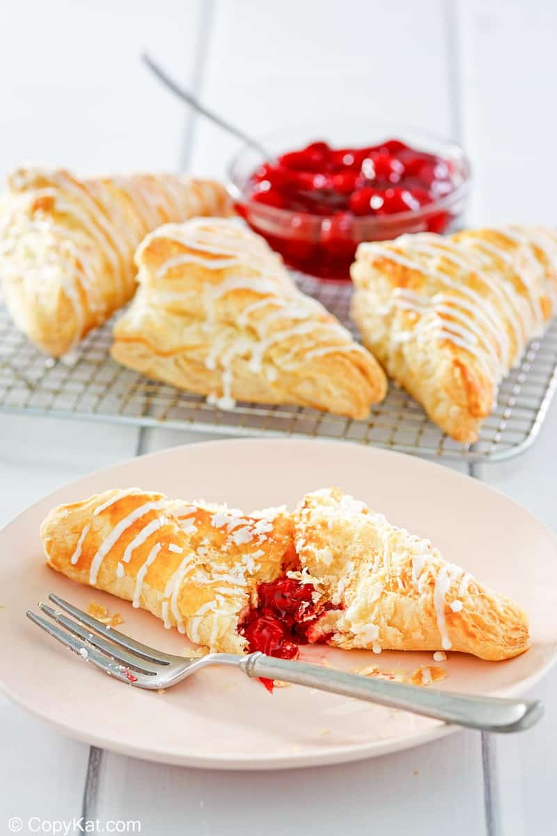 homemade Arby's cherry turnovers with glaze