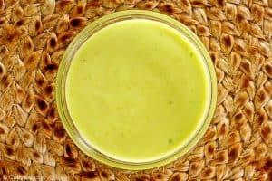 bowl of avocado ranch sauce