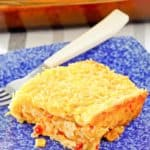 creamed corn casserole and a fork on a plate
