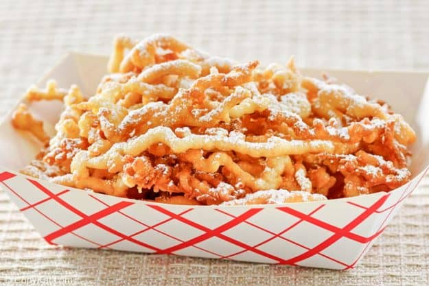 funnel cake fries dusted with powdered sugar