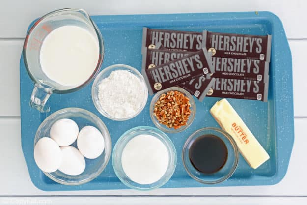 Hershey bar cake ingredients on a tray