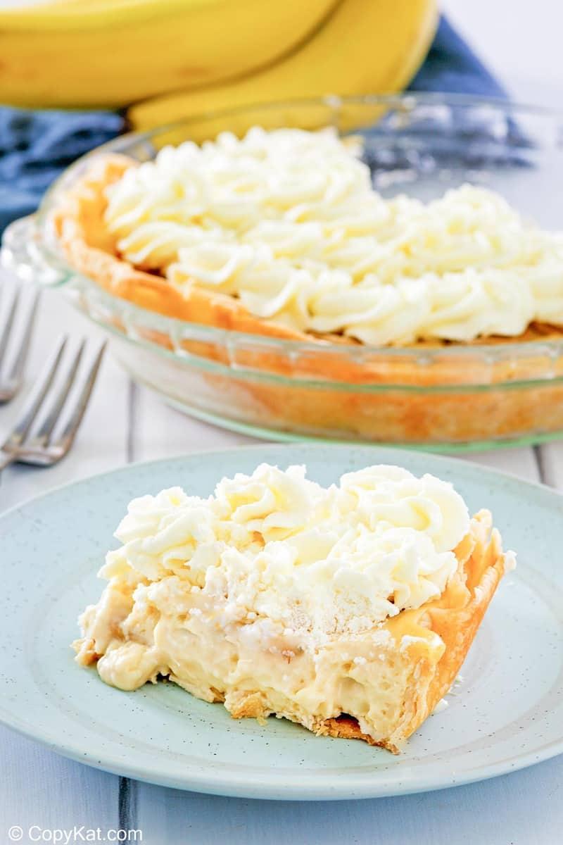 homemade Marie Callender's banana cream pie and bananas