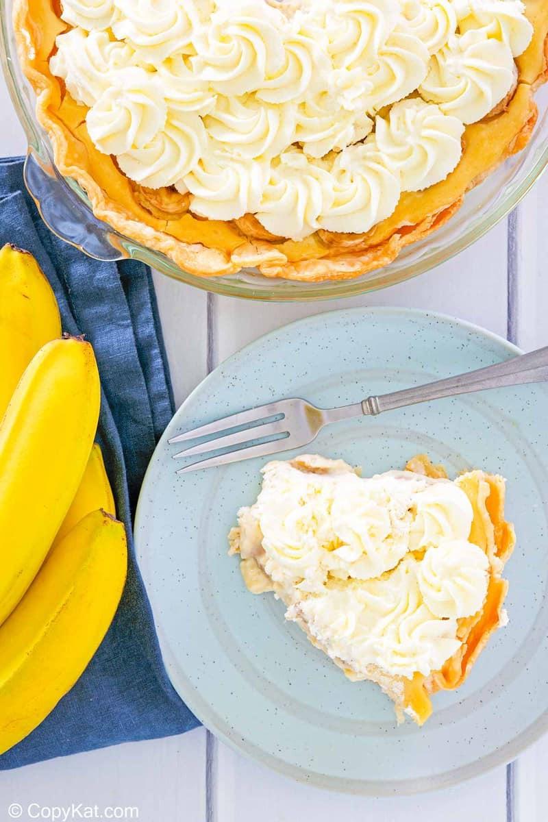 overhead view of homemade Marie Callender's banana cream pie