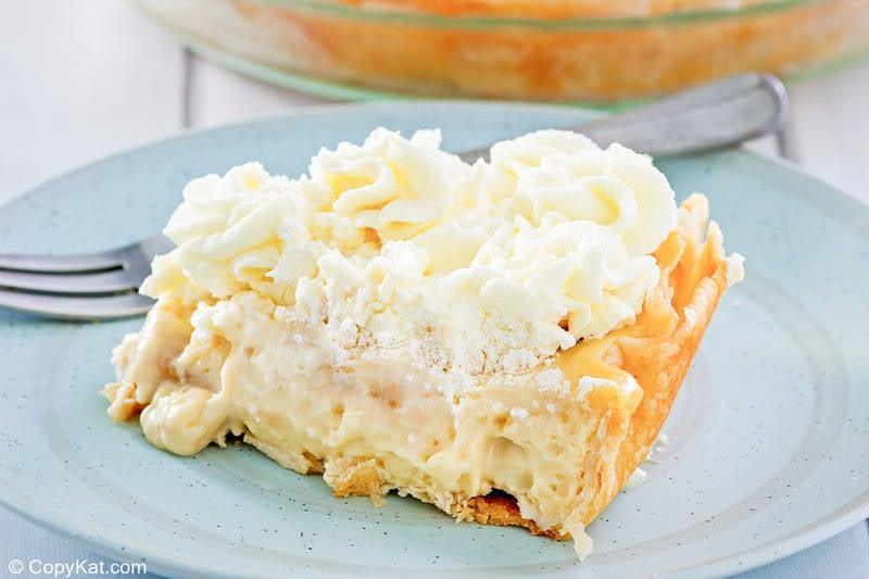 a slice of homemade Marie Callender's banana cream pie