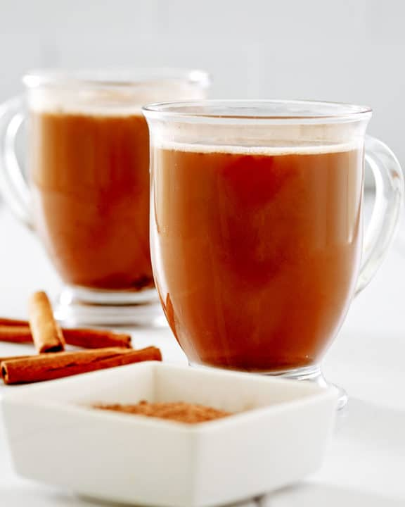 Mexican coffee in two glass mugs