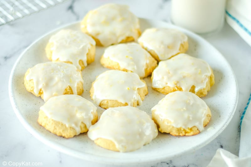 iced pineapple cookies on a large plate