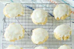 iced pineapple cookies on a wire rack