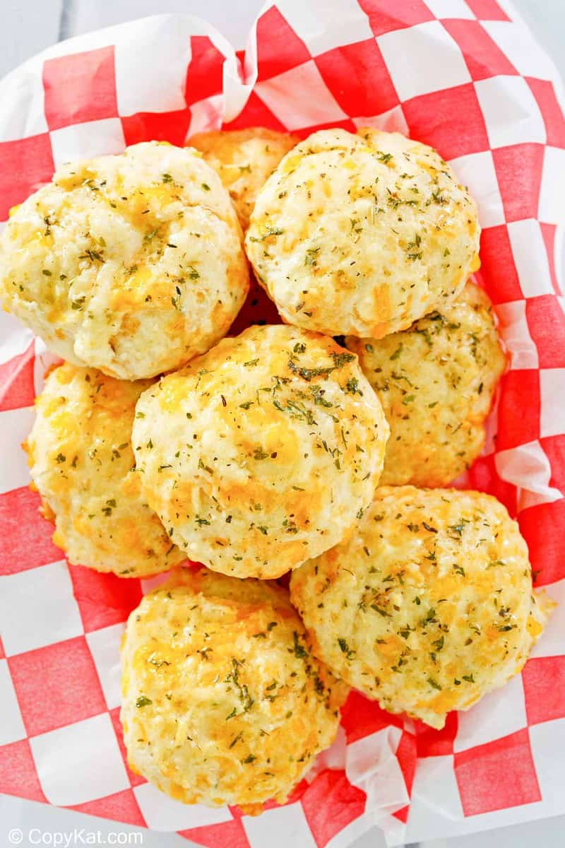overhead view of homemade Red Lobster Cheddar Bay Biscuits