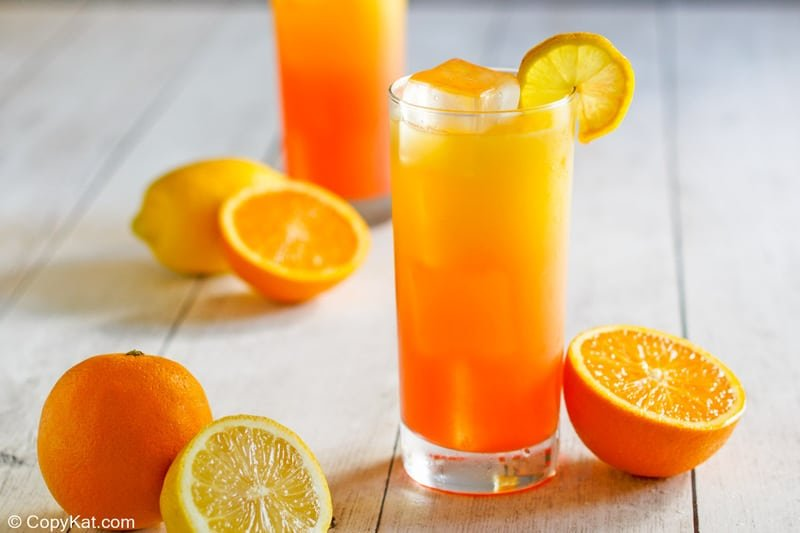 homemade Red Robin Screaming Red Zombie cocktail and oranges
