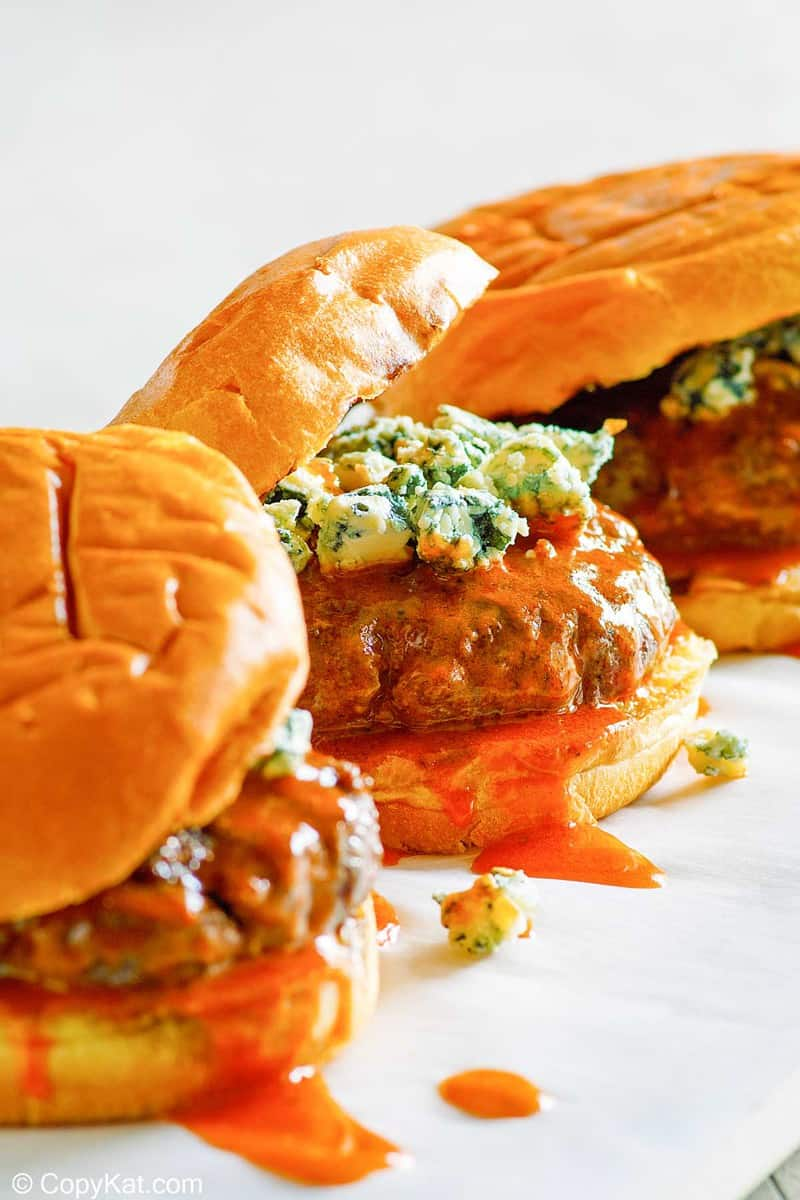 three homemade Smashburger buffalo burgers
