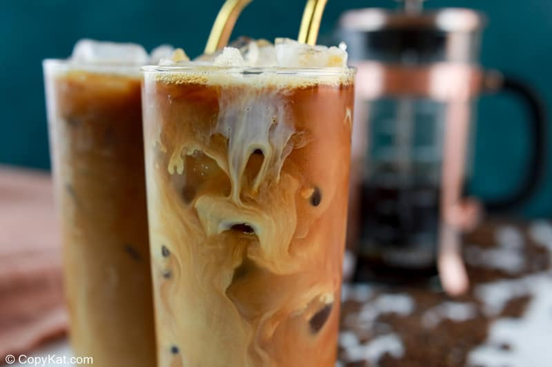 closeup of a homemade Starbucks vanilla sweet cream cold brew coffee drink.