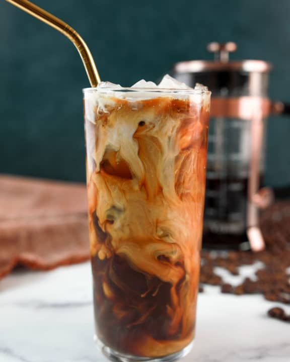 homemade Starbucks vanilla sweet cream cold brew coffee drink.