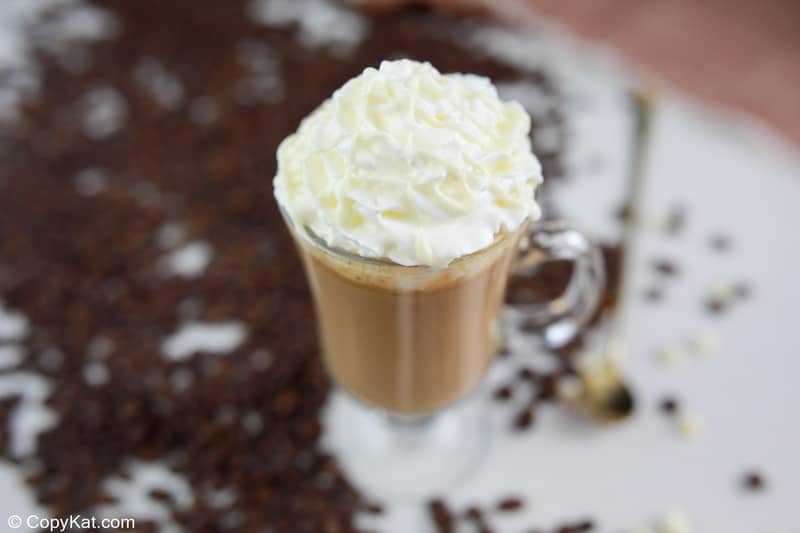 homemade Starbucks white chocolate mocha topped with whipped cream.