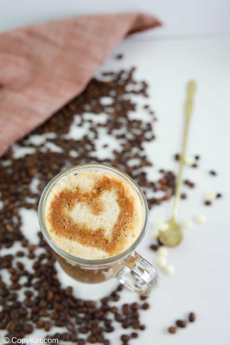 white chocolate mocha with a an espresso heart on top.