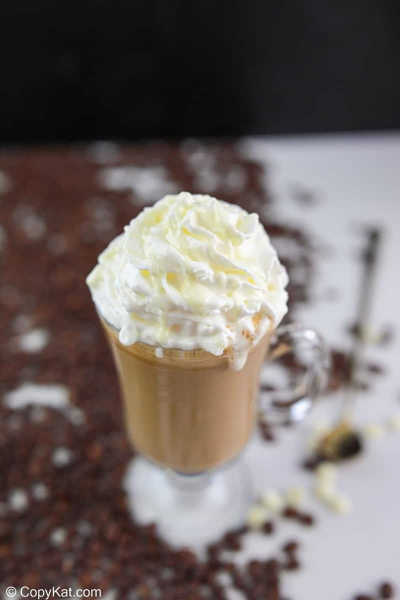 homemade Starbucks white chocolate mocha with whipped cream.