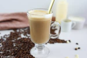 stirred white chocolate mocha in a coffee mug.