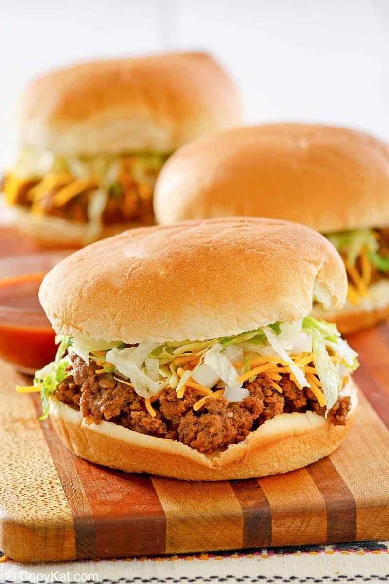 homemade Taco Bell Bell Beefer sandwich