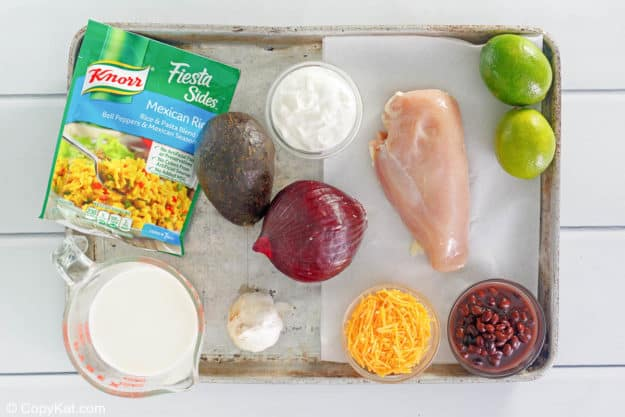 Taco Bell power bowl ingredients on a baking sheet