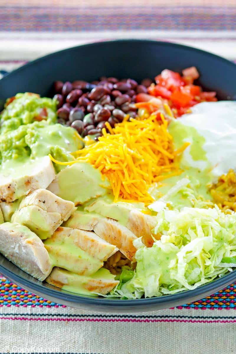 homemade Taco Bell power bowl with chicken