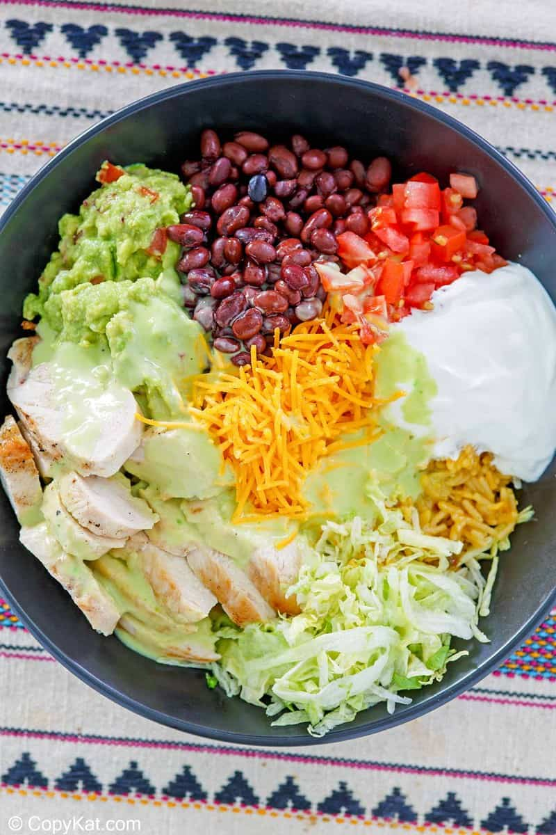 overhead view of homemade Taco Bell power bowl with chicken