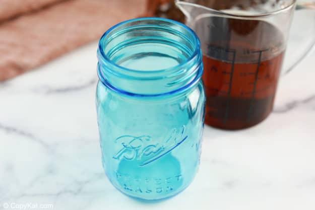 vanilla coffee syrup in a mason jar