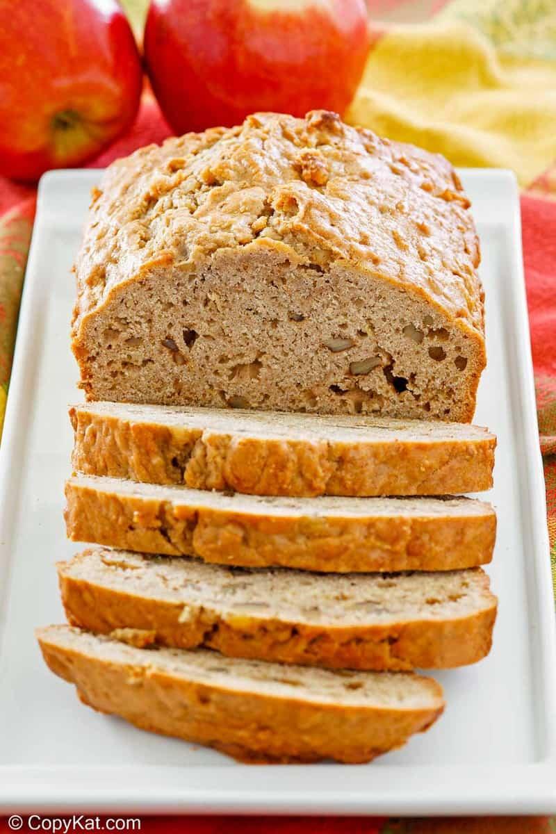 apple bread on a platter.