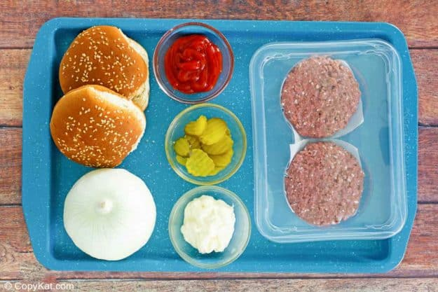 Burger King Impossible Whopper ingredients on a tray.