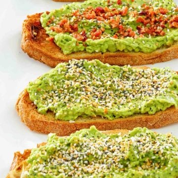 Homemade Dunkin Donuts avocado toast with and without bacon.