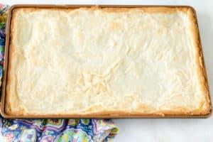 freshly baked gooey butter cake in the pan.
