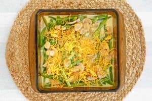 green bean casserole with cheese before baking.