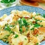lyonnaise potatoes in a serving dish.