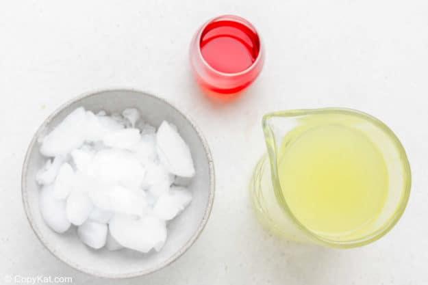 Ingredients for McDonald's frozen strawberry lemonade.