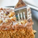 slice of Mississippi mud cake with a fork in it.