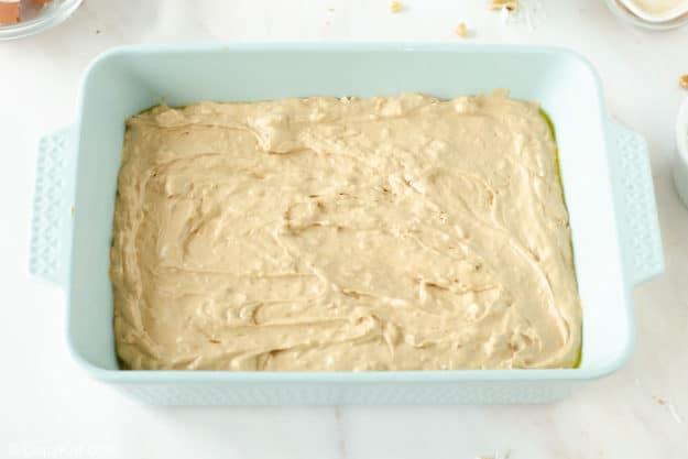 Mississippi mud cake batter in a baking pan.