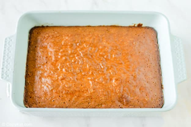 Mississippi mud cake layer in a baking pan.