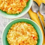 overhead view of two bowls of butternut squash risotto.
