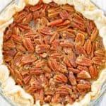 overhead view of a homemade Karo pecan pie.