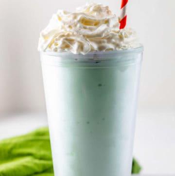 homemade McDonald's shamrock shake with whipped cream.