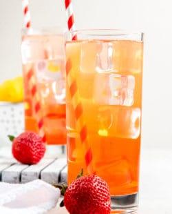 homemade Sonic Strawberry Lemonade in two glasses.