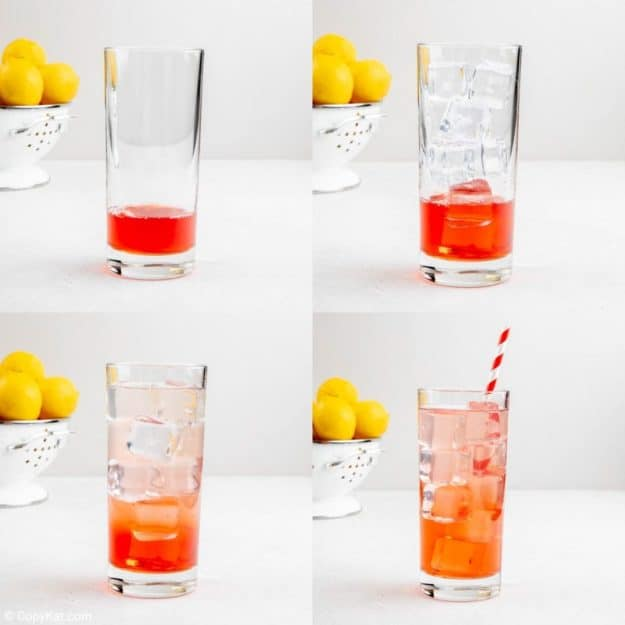 photo collage of steps to make Sonic Strawberry Lemonade.